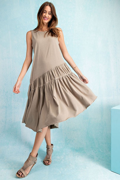 Easel Flowy Effortless Cotton Asymmetrical Midi Dress