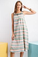 Load image into Gallery viewer, Easel Striped Tie Shoulder Loose Fit Linen Midi Dress - Sensual Fashion Boutique