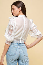 Load image into Gallery viewer, Lace Bold Bow White Crop Top - Sensual Fashion Boutique