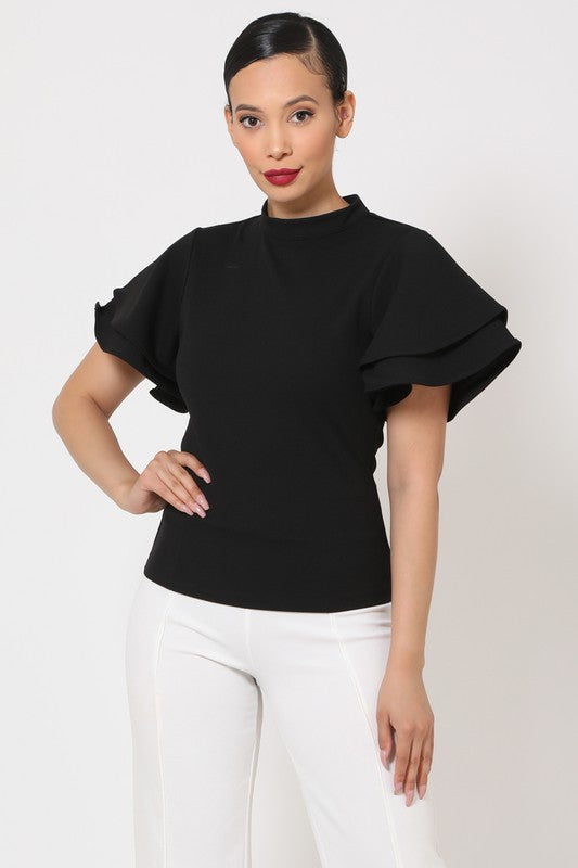 Valentine Ruffle Layer Sleeve Top - Sensual Fashion Boutique