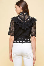 Load image into Gallery viewer, Luxurious Lace Ribbon Detailed Black Top - Sensual Fashion Boutique