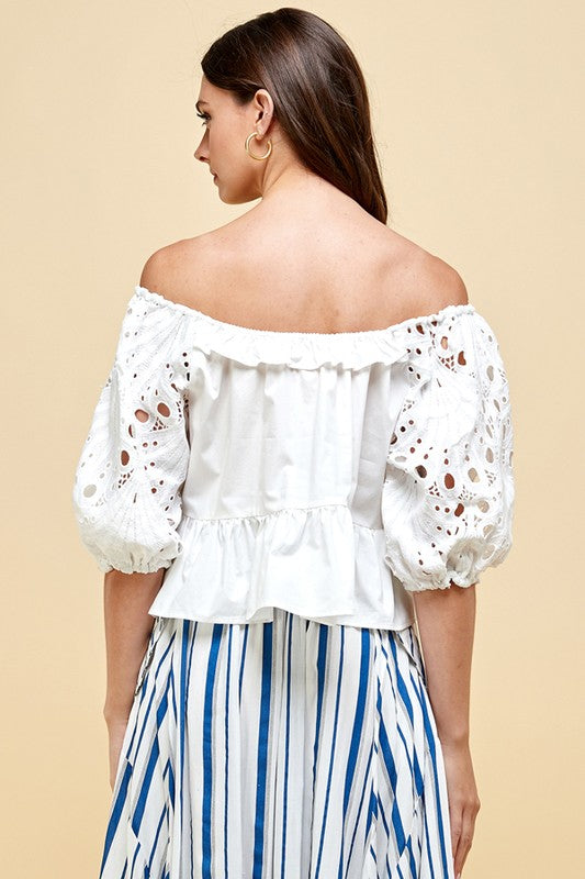 Woven Eyelet Puff Sleeve White Top - Sensual Fashion Boutique