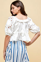 Load image into Gallery viewer, Woven Eyelet Puff Sleeve White Top - Sensual Fashion Boutique