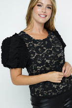 Load image into Gallery viewer, Tea & Cup Floral Lace Puff Sleeve Top - Sensual Fashion Boutique