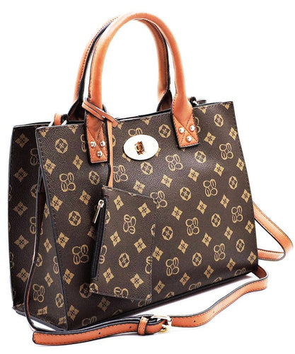 The Deluxe Monogram Satchel Handbag 3 Pc Set - Sensual Fashion Boutique