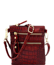 Load image into Gallery viewer, Crocodile Print Multi Pocket Wristlet Cross Body - Sensual Fashion Boutique