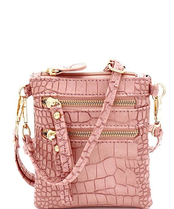 Crocodile Print Multi Pocket Wristlet Cross Body - Sensual Fashion Boutique