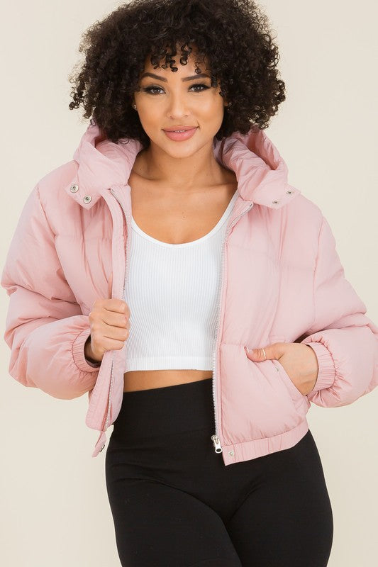 Sweet Habit Hooded Cropped Puffer Jackets - Sensual Fashion Boutique