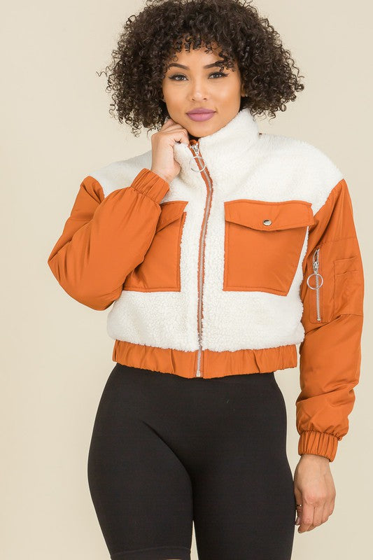 Sweet Habit Contrasted Crop Teddy Jackets - Sensual Fashion Boutique