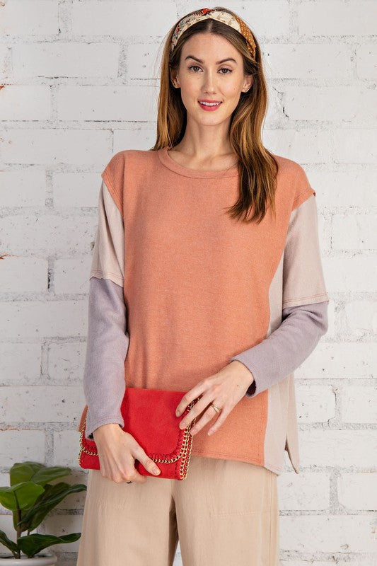 Easel Feeling Soft Long Sleeve Color Block Relaxed Fit Top - Sensual Fashion Boutique