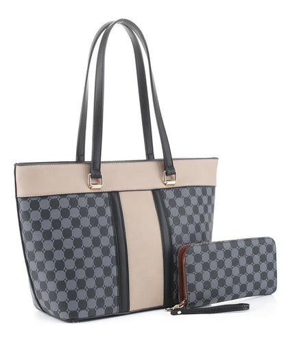 Monogram Double Tone Style Shopper Tote Wallet Set - Sensual Fashion Boutique