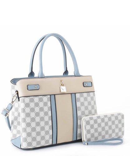 Monogram Colorblock Padlock Satchel Wallet Set - Sensual Fashion Boutique