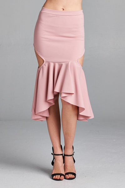 Dusty Pink Cut Out Mermaid Midi Skirt - Sensual Fashion Boutique