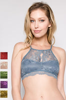 Anemone Lace High Neck Open Back Bralette