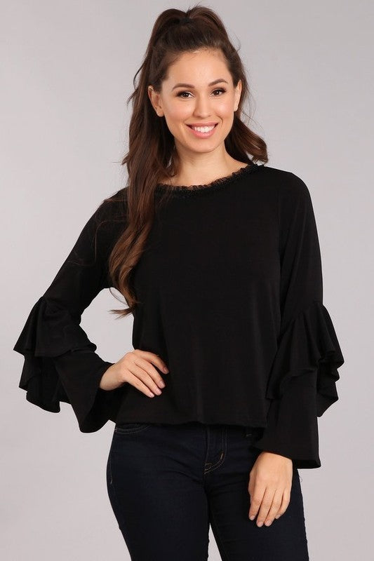 Roundneck Bell Sleeve Ruffle Blouse - Sensual Fashion Boutique