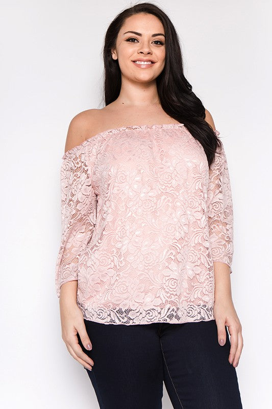 Plus Size Lace Floral Off Shoulder Top - Sensual Fashion Boutique