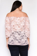 Load image into Gallery viewer, Plus Size Lace Floral Off Shoulder Top - Sensual Fashion Boutique