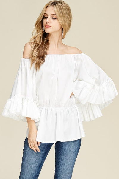 Pleated White Off Shoulder Bell Sleeve Top - Sensual Fashion Boutique