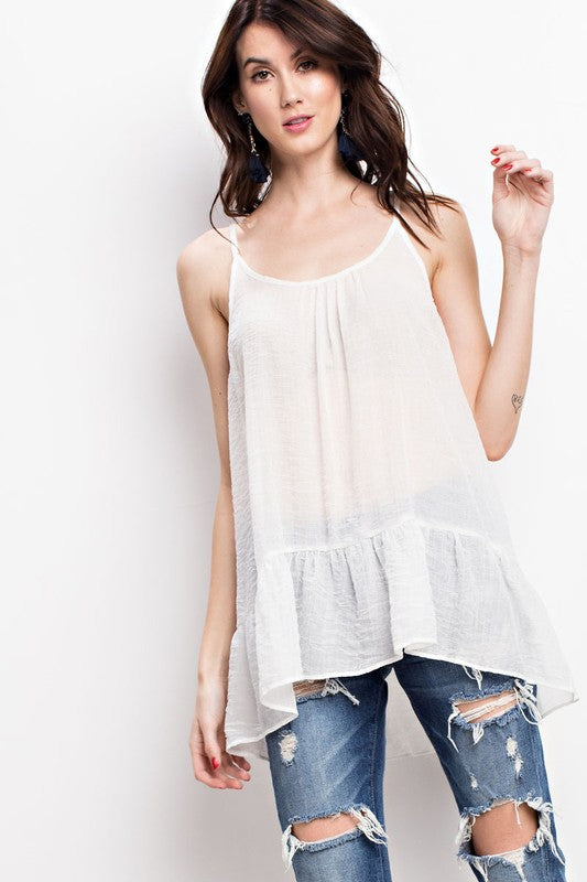 Easel Oversize Semi Sheer Lace Up Cami - Sensual Fashion Boutique