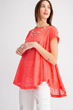 Load image into Gallery viewer, Easel Hot Coral Keyhole Back Tunic Top - Sensual Fashion Boutique