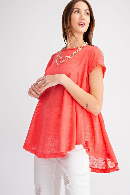 Easel Hot Coral Keyhole Back Tunic Top - Sensual Fashion Boutique