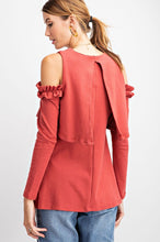 Load image into Gallery viewer, Easel Cold Shoulder Ruffled Overlay Tunic - Sensual Fashion Boutique