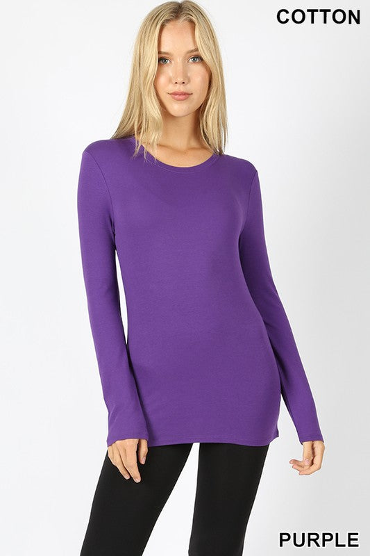 Zenana Cotton Long Sleeve Round Neck Slim Fit Tee - Sensual Fashion Boutique