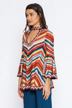 Load image into Gallery viewer, Flying Tomato Multi Colored Stripes Mock Neck Top - Sensual Fashion Boutique