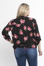 Load image into Gallery viewer, Plus Size Black Floral Rayon Blouse - Sensual Fashion Boutique