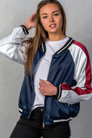 "Ladies fashion navy ""brunch"" embroidered bomber color-block jacket - Sensual Fashion Boutique"