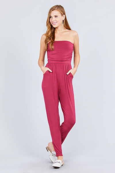Strapless Tube Top W/front Slanted And Pocket Rayon Spandex Jumpsuit - Sensual Fashion Boutique