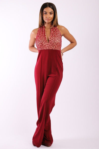 Solid Jumpsuit With Sequined Crochet Lave Halter Top - Sensual Fashion Boutique