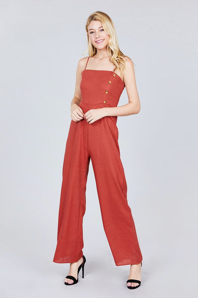 Button Down Cami Linen Jumpsuit - Sensual Fashion Boutique