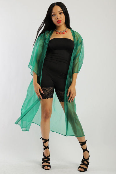 Solid, Organza Chiffon Cardigan With Open Front, Kimono - Sensual Fashion Boutique