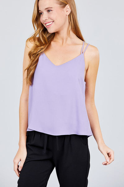 V-neck W/back Cross Strap Cami Woven Top - Sensual Fashion Boutique