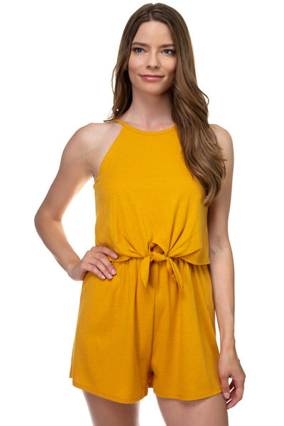 Sleeveless Ribbed Front Tie Romper - Sensual Fashion Boutique