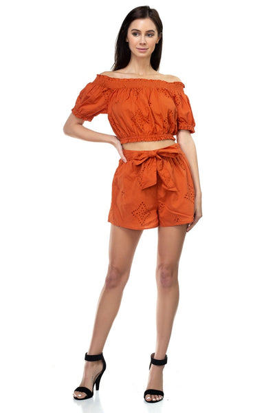 Smocked Off Shoulder Top & High Waist Eyelet Shorts Set - Sensual Fashion Boutique