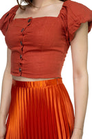 Button Down Puff Sleeve Crop Top - Sensual Fashion Boutique