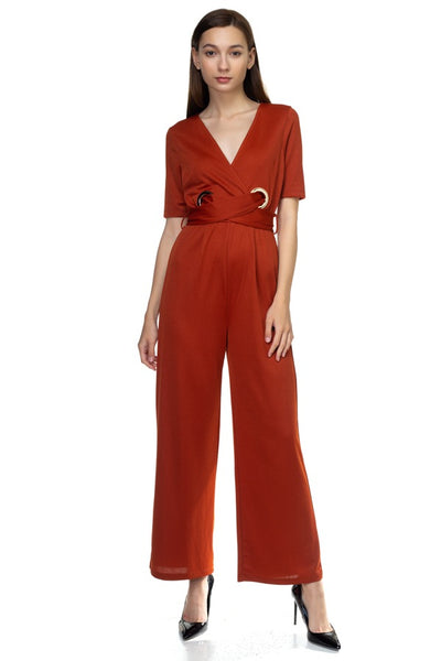 Grommets Belted Jumpsuit - Sensual Fashion Boutique