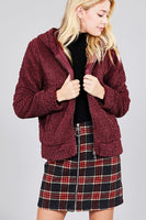 Hoodie Side Pocket Faux Fur Zip-up Jacket - Sensual Fashion Boutique