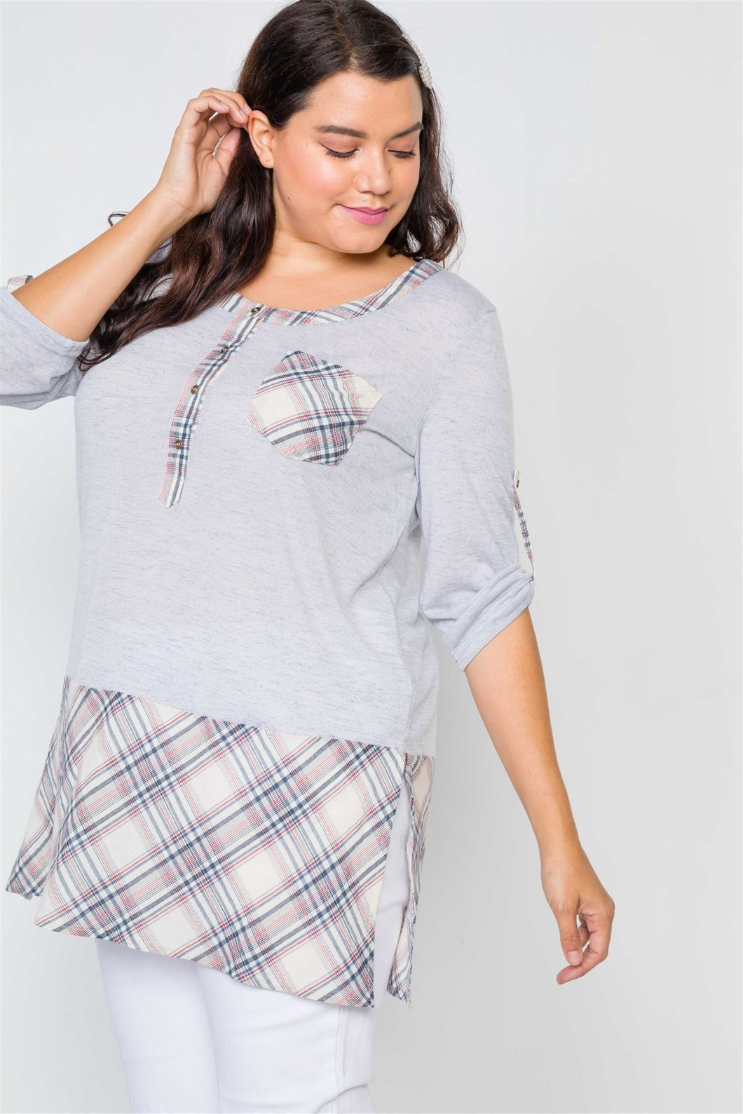 Plus Size Plaid Combo Plus Size Top - Sensual Fashion Boutique