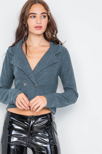 Double Breasted Peacoat Crop Jacket - Sensual Fashion Boutique