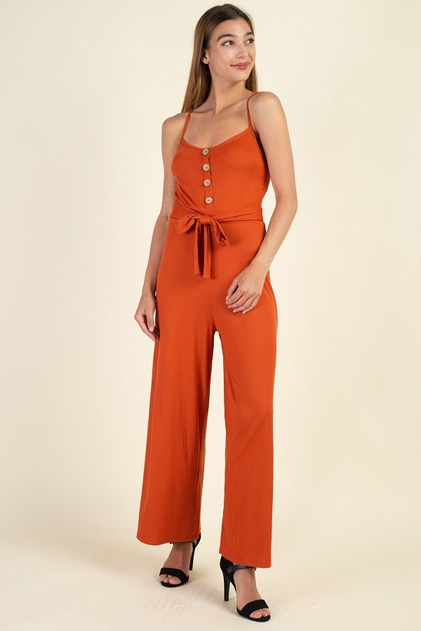 Waist Side Belt Rib Jumpsuit - Sensual Fashion Boutique