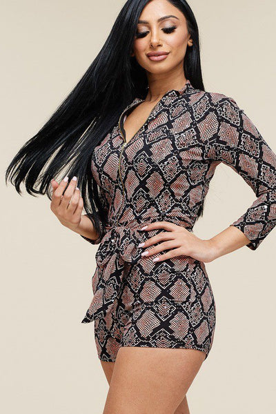 Multi Color Snake Print 3/4 Sleeve Romper - Sensual Fashion Boutique