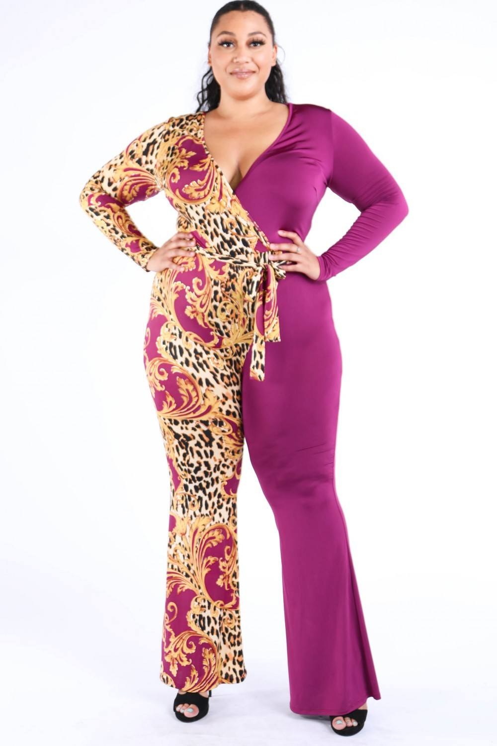 Leopard Paisley Printed Color Blocked Jumpsuit - Sensual Fashion Boutique
