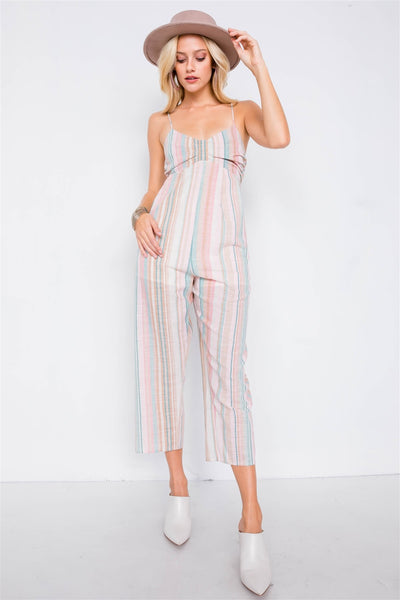 Multi Stripe Ribbon Shaped Front Smocking Back Jumpsuit - Sensual Fashion Boutique