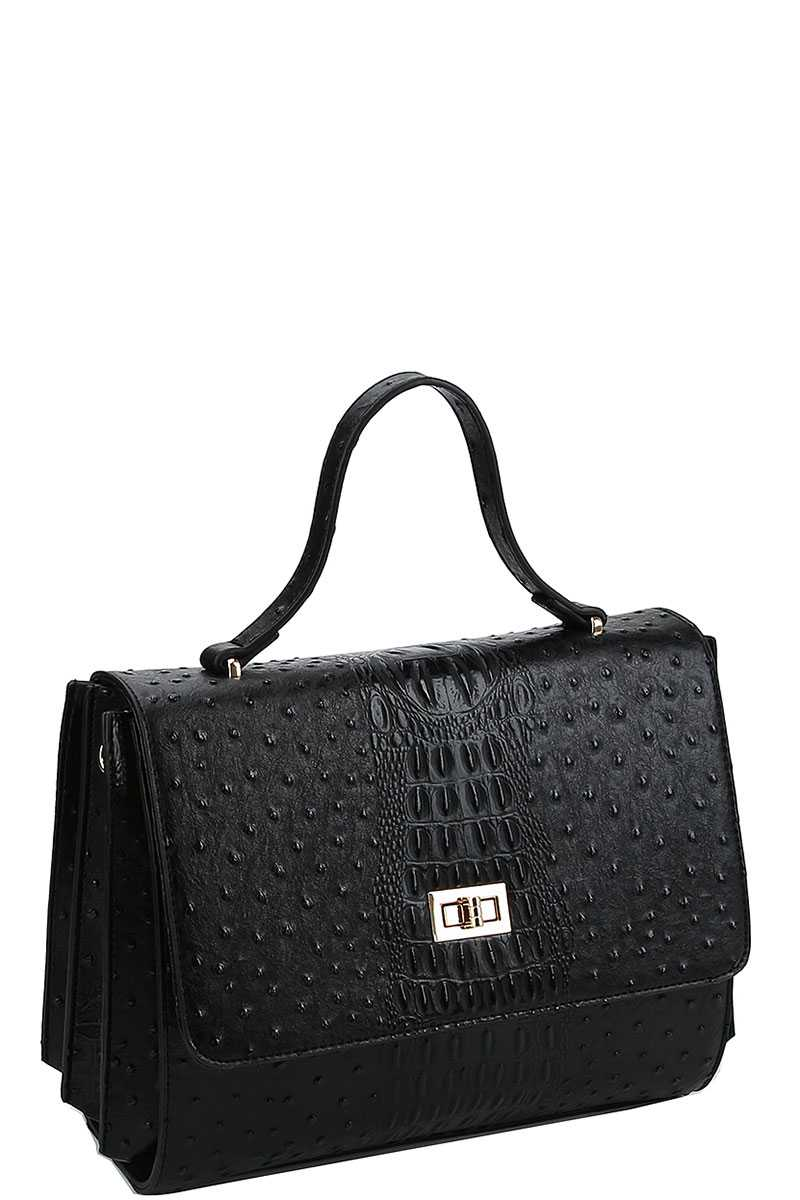 Modern Fashion Croco Pattern Satchel With Long Strap - Sensual Fashion Boutique