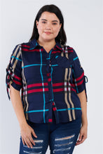 Load image into Gallery viewer, Plus Size Plaid Multi Stripe Cinched Sleeve Button Down Top - Sensual Fashion Boutique