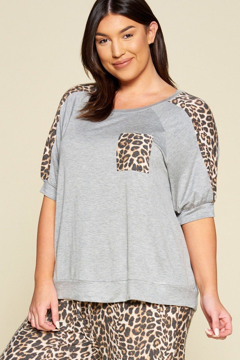 Plus Size Cute Animal Print Pocket French Terry Casual Top - Sensual Fashion Boutique