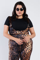 Plus Size Leopard Print High Waist Overall Jumpsuit